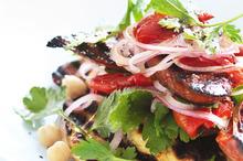 Haloumi, chickpea and chorizo salad. Photo / Chris Court
