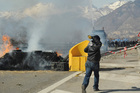 Activists continue to defy the Italian PM's commitment to the high-speed train line under the Alps. Photo / AP