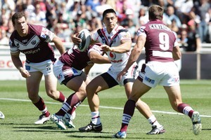 Warriors  Shaun Johnson in action against the  Manly. Photo / Richard Robinson