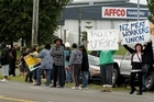 Locked out meat workers protest outside the Affco meat works at Rangiuru, near Te Puke in the Bay of Plenty. Photo / Alan Gibson