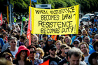 Ports of Auckland protest in downtown Auckland yesterday. Photo / Jason Dorday