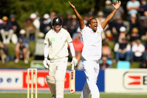 Vernon Philander, known for his onfield swagger, appeals for the wicket of Rob Nichol. Photo / Getty Images