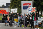 Workers have been picketing outside Affco meat-processing plants around the North Island since more than 1000 were locked out. Photo / Alan Gibson