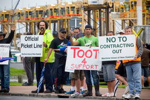 Ports of Auckland workers face a big change in the way the waterfront is handled. Photo / Dean Purcell