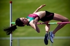 Elizabeth Lamb in action in the high jump. Photo / Dean Purcell