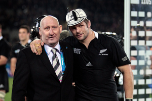 Jock Hobbs presented All Black captain Richie McCaw with his 100th cap in September during the World Cup. Photo / Sarah Ivey