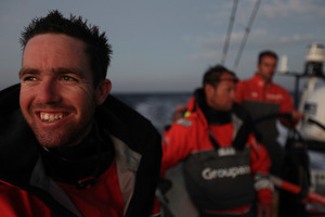 Bowman Brad Marsh smiles onboard Groupama Sailing Team. Photo / Yann Riou, Groupama Sailing Team, Volvo Ocean Race