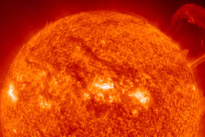 This extreme ultraviolet wavelength image provided by NASA shows a solar flare. It's heading toward Earth and could disrupt power grids, GPS and airplane flights. Photo / AP, NASA