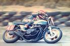 Eric Thompson manhandling a 'terrifying' Kawasaki ZR1 around Bathurst in the early 1980s. Photo / Supplied