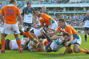 Scott Fardy attempts to score a try for the Brumbies. Photo / Getty Images