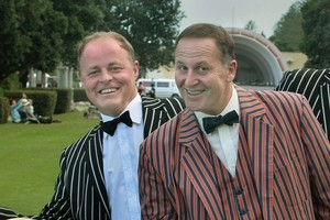 Song and dance - Craig Foss and John Key. Photo / Supplied