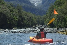 Paddling towards Harrisons Valley, with the Pembroke Glacier looming above. Photo / Joe Dodgshun