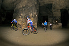 Cycling through the tunnels at Valkenburg. Photo / Supplied