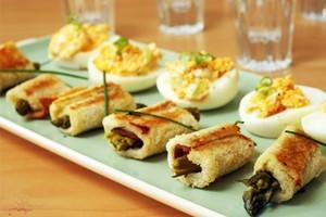 Asparagus rolls are an oldy but a goody. Photo / Janna Dixon