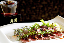 The beef tataki at Tatsumi is a wonderful dish to look at, and to eat. Photo / Babiche Martens