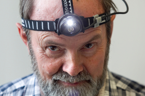 Jim Eagles models Kathmandu's 1W Luxeon headtorch. Photo / Natalie Slade