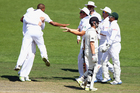 Vernon Philander celebrates taking the wicket of Kane Williamson yesterday. Photo / Getty Images