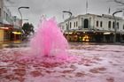 A pink water fountain to promote a Breast Cancer Awareness fun walk in the Hastings CBD. Photo / Warren Buckland