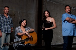 From left, Warren Maxwell, Anika Moa, Maisey Rika and Ruia Aperahama give prison inmates music lessons in Maori Television's new series 'Songs From the Inside'. Photo / Supplied