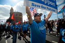 Protesters march at the weekend in support of Ports of Auckland workers.  Photo / Jason Dorday