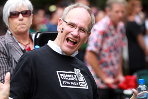 Auckland Mayor Len Brown enjoys the 20th Pacifica Festival. Photo / Doug Sherring