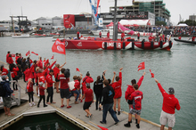 Volvo Ocean racing New Zealand crew Team Camper celebrate in front of a large crowd that gathered at the Viaduct after arri