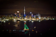 Groupama is first in to Auckland harbour. Photo / IAN ROMAN/Volvo Ocean Race