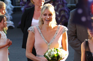 Princess Charlene wears her Johanna Johnson outfit to open a Grace Kelly exhibit at the Bendigo Art Gallery. Photo / Getty Images