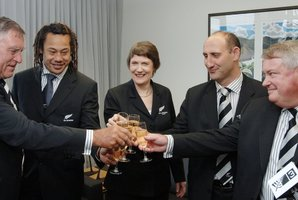 Sir Colin Meads, Tana Umaga, former Prime Minister Helen Clark, Jock Hobbs and Chris Moller in the Prime Ministers office at Parliament, Wellington, New Zealand, in 2005. Photo / NZPA