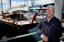 Entrepreneur Ron Holland, who founded the University of Auckland's course in yacht engineering, with the Thalia, which he designed. Photo / Sarah Ivey