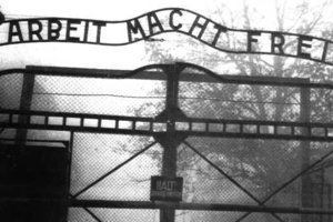 With Nazi collectibles commanding record prices, the metal sign over the entrance to the Auschwitz death camp was stolen, apparently to order. Photo / AP