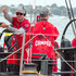 CAMPER with Emirates Team New Zealand skipper Chris Nicholson celebrates the team's win in the In Port Race in Auckland. Photo / Emirates Team New Zealand media.