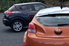 Nissan Juke and Hyundai Veloster. Photo / David Linklater