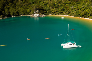 Boats in Abel Tasman Bay. Photo / Supplied