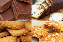 The legend, Tui Flower's, creations (clockwise from top left): Simple brownies; raisin loaf; scrunch and bran biscuits. Photo / Jason Burgess