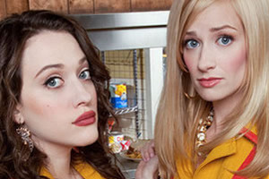 A scene from Two Broke Girls, which makes Two and a Half Men seem complex and subtle.
