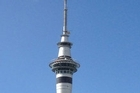 A helicopter was seen undertaking 'scary' manoeuvres while circling the Sky Tower.