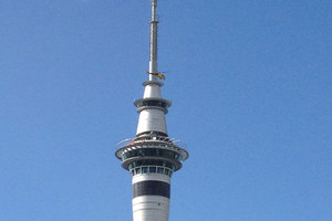 The helicopter pictured at the Sky Tower today. Photo / supplied