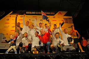 Groupama, along with Kiwi team member Brad Marsh, celebrate winning the 4th leg to Auckland.  Photo / Michael Craig