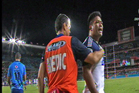 Keven Mealamu confronts a member of the crowd after a bottle is thrown on to the pitch. Photo / Sky Sport