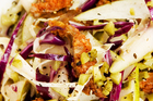 Pear, chorizo, mint and cabbage salad. Photo / Babiche Martens