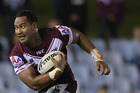 Tony Williams of the Sea Eagles makes a break during the round three NRL match between the Cronulla Sharks and the Manly Sea Eagles at Toyota Stadium. Photo / Getty