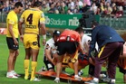 Jharal Yow Yeh is taken off the field after suffering an ankle dislocation. Photo / Getty Images