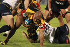Arizona Taumalolo of the Chiefs looks for a way through the Brumbies pack during a Super 15 match at Bay Park, Mount Maunganui. Photo / Joel Ford