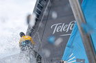 Bowman Zane Gills on the bow of Team Telefonica during leg 4 of the Volvo Ocean Race 2011-12, from Sanya, China to Auckland, New Zealand. Photo / Diego Fructuoso