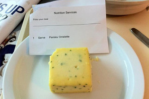The unappetising 'parsley omelette' dished up to a patient at Auckland City Hospital. Photo / Supplied