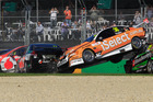 A huge crash during the start of race two in Melbourne left veteran V8 driver Russell Ingall fuming. Photo / Supplied