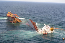 The Rena in January. More debris has fallen from the vessel into the sea. Photo/ Graeme Brown 