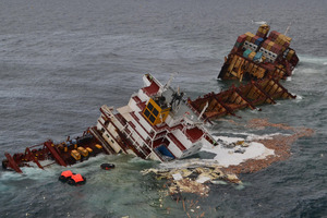 At least 683 containers have been brought ashore including 99 rescued from the sea and shoreline. Photo / Graeme Brown
