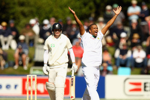 Vernon Philander of South Africa makes an appeal for the wicket of Rob Nicol during day two of the first Test. Rob Nichol has missed selection for the third Test squad. Photo / Getty Images
